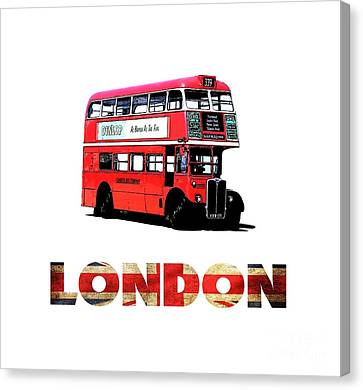 London Red Double Decker Bus Tee Canvas Print