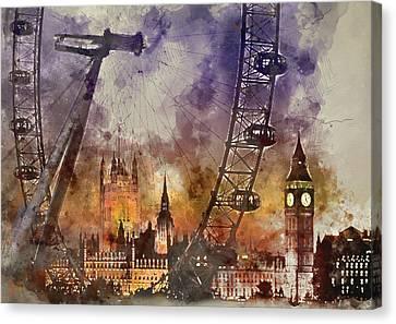 London Signs - London Eye - By Diana Van Canvas Print by Diana Van