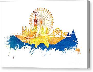 London Skyline Map City Blue Canvas Print