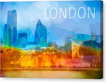 London Skyline Poster Canvas Print by Lutz Baar