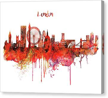 Modern Digital Art Canvas Print - London Skyline Watercolor by Marian Voicu