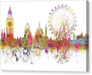 Drips Canvas Print - London Skyline Watercolor by Michal Boubin