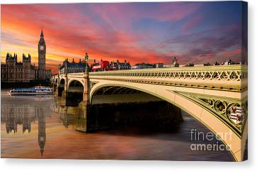 London Sunset Canvas Print by Adrian Evans