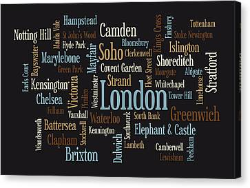 London City Map Canvas Print - London Text Map by Michael Tompsett