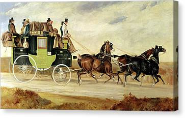 London To Bristol And Bath Stage Coach Canvas Print by Charles Cooper Henderson
