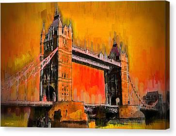 Tourist Canvas Print - London Tower Bridge 19 - Pa by Leonardo Digenio