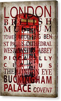 Londoners Canvas Print - London Vintage Poster Red by Delphimages Photo Creations
