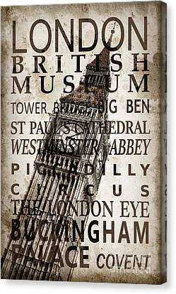 Londoners Canvas Print - London Vintage Poster Sepia by Delphimages Photo Creations