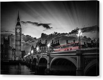 London Westminster Bridge At Sunset Canvas Print