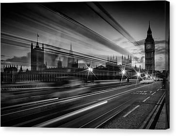 London Westminster Bridge Traffic Canvas Print
