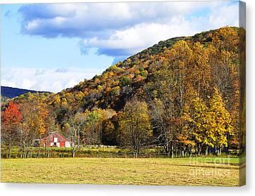 Lone Barn Fall Color Canvas Print by Thomas R Fletcher