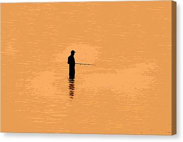 Lone Fisherman Canvas Print by David Lee Thompson