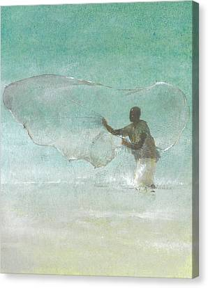 Lone Fisherman Five Canvas Print