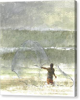 Lone Fisherman Four Canvas Print by Lincoln Seligman
