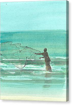 Lone Fisherman One Canvas Print by Lincoln Seligman
