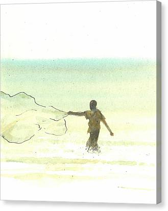 Lone Fisherman Six Canvas Print by Lincoln Seligman