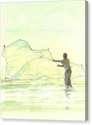 Lone Fisherman Two Canvas Print by Lincoln Seligman