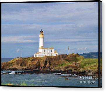 Canvas Print featuring the photograph Lone Lighthouse In Scotland by Roberta Byram