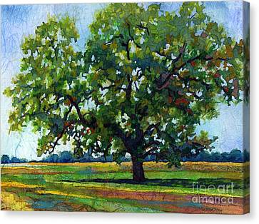 Canvas Print featuring the painting Lone Oak by Hailey E Herrera