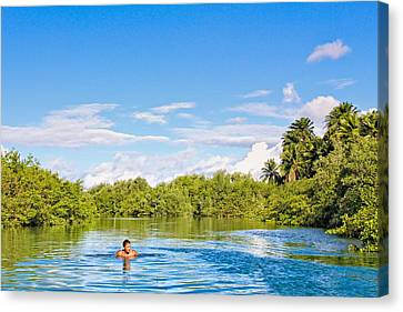 Canvas Print featuring the photograph Lone Swimmer by Kim Wilson