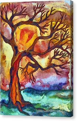 Bare Trees Canvas Print - Lone Tree At Sunset by Michal Boubin