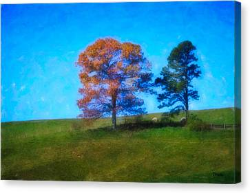 Lone Trees Painting Canvas Print