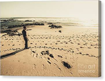 Lonely Beach Sunset Canvas Print