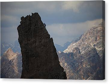 Lonely Climber, Cinque Torri, Dolomites, Italy Canvas Print by Frank Peters