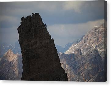 Lonely Climber, Cinque Torri, Dolomites, Italy Canvas Print