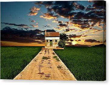 Canvas Print featuring the photograph Lonely Farm House  by Harry Spitz