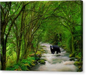 Canvas Print featuring the painting Lonely Hunter by Steven Richardson