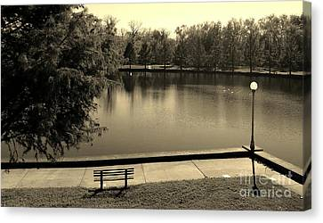 Southern Indiana Autumn Canvas Print - Lonely Park Bench - Sepia by Scott D Van Osdol