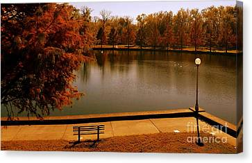 Southern Indiana Autumn Canvas Print - Lonely Park Bench - Sunset by Scott D Van Osdol
