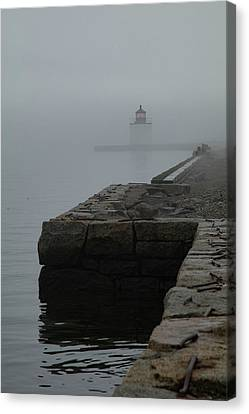 Canvas Print featuring the photograph Lonely Salem Lighthouse In Fog by Jeff Folger
