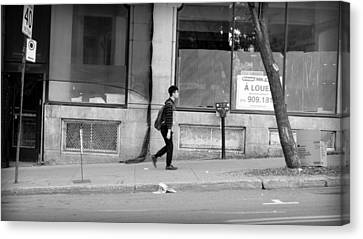Canvas Print featuring the photograph Lonely Urban Walk by Valentino Visentini