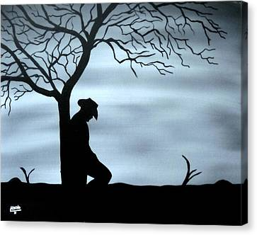 Canvas Print featuring the painting Lonesome Cowboy by Edwin Alverio