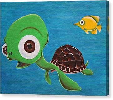 Lonesome Fish And Friendly Turtle Canvas Print by Landon Clary