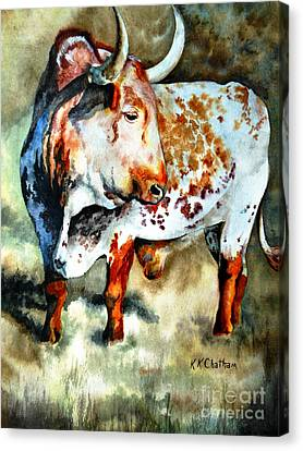 Canvas Print featuring the painting Lonesome Longhorn by Karen Kennedy Chatham