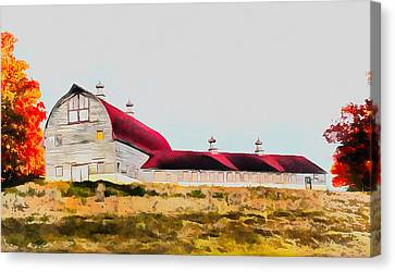Red Roof Canvas Print - Long Barn by Ryan Burton