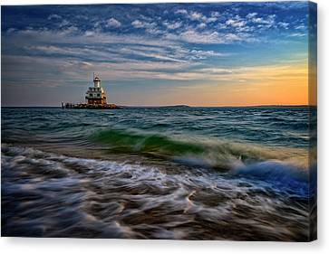 Long Beach Bar Lighthouse Canvas Print by Rick Berk
