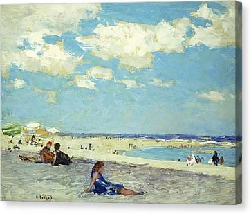 Beach Scenes Canvas Print - Long Beach by Edward Henry Potthast
