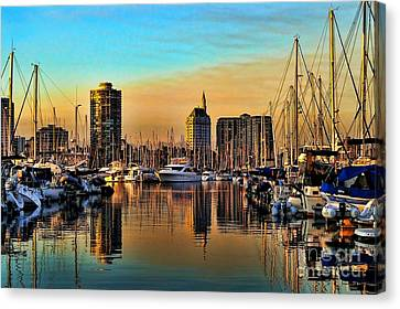 Canvas Print featuring the photograph Long Beach Harbor by Mariola Bitner