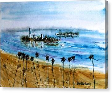 Long Beach Oil Islands Before Sunset Canvas Print by Debbie Lewis