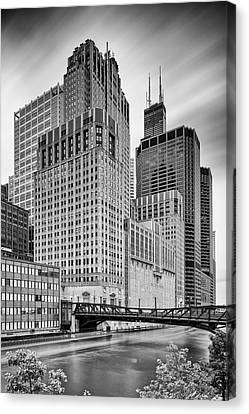 Long Exposure Image Of Chicago River Civic Opera House And Top Of The Willis Tower - Illinois Canvas Print by Silvio Ligutti