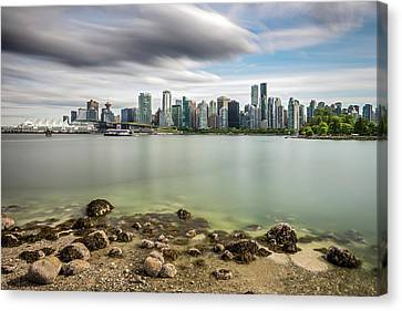 Canvas Print featuring the photograph Long Exposure Of Vancouver City by Pierre Leclerc Photography