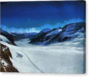 Long Glacier In The Swiss Alps Canvas Print by Ashish Agarwal