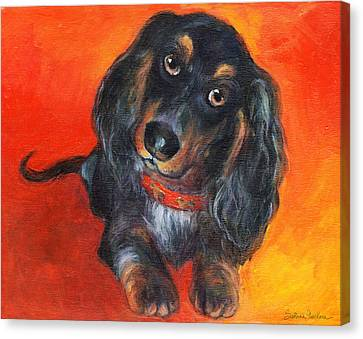Long Haired Dachshund Dog Puppy Portrait Painting Canvas Print by Svetlana Novikova