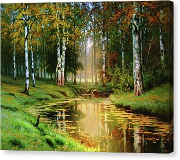 Long Indian Summer In The Woods Canvas Print by Georgiana Romanovna