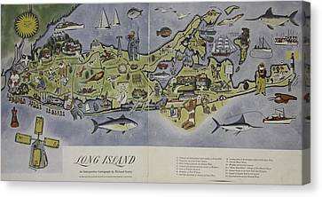 Canvas Print featuring the photograph Long Island An Interpretive Cartograph by Duncan Pearson