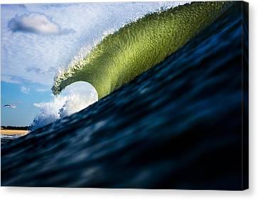 Long Island Blue Sky Green Wave Canvas Print by Ryan Moore
